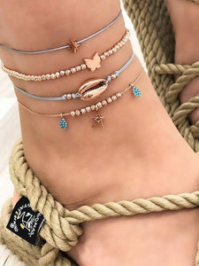 4 Piece Anklet Butterfly Shell Rhinestone
