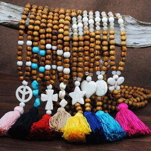 Boho Multi-colored Wooden Beads White Pine Tassel Necklace