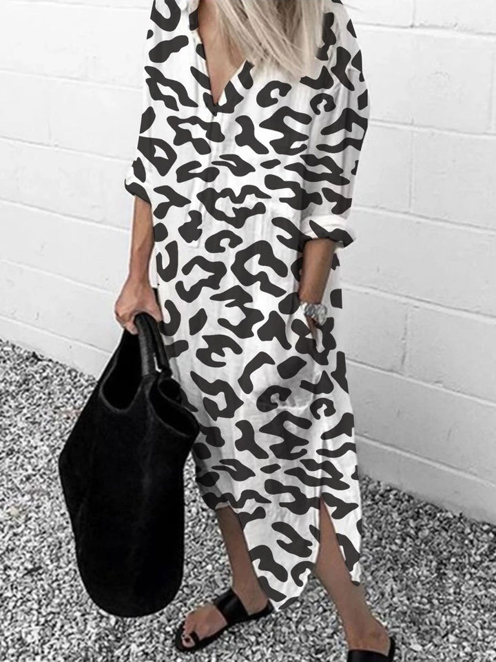 Fashion Leopard Print Long Sleeve Split Dress