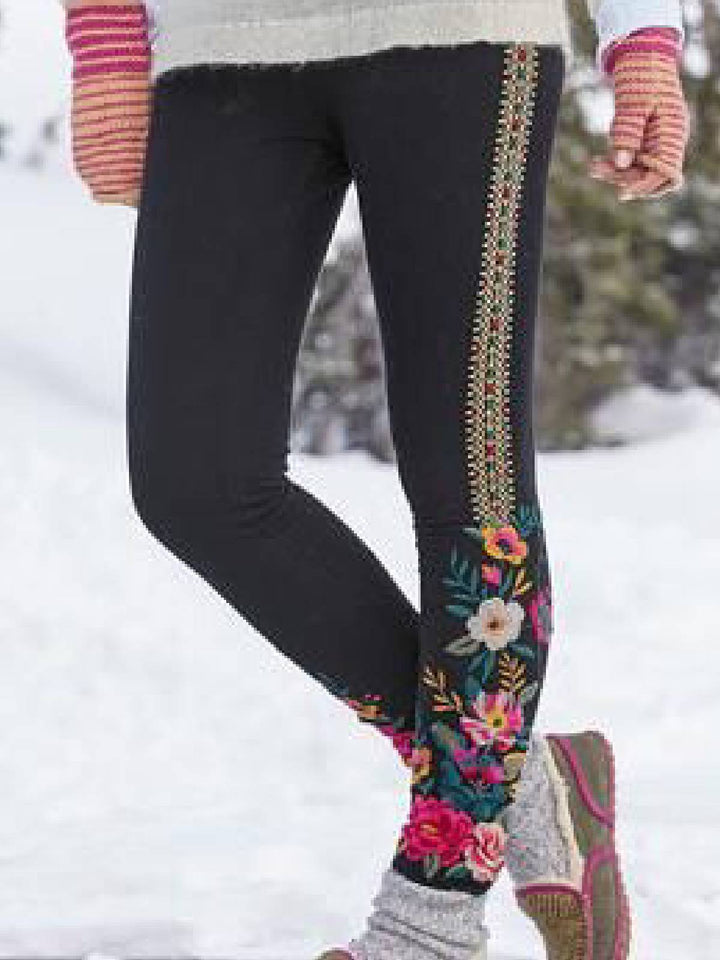 Black Casual Embroidered Pants