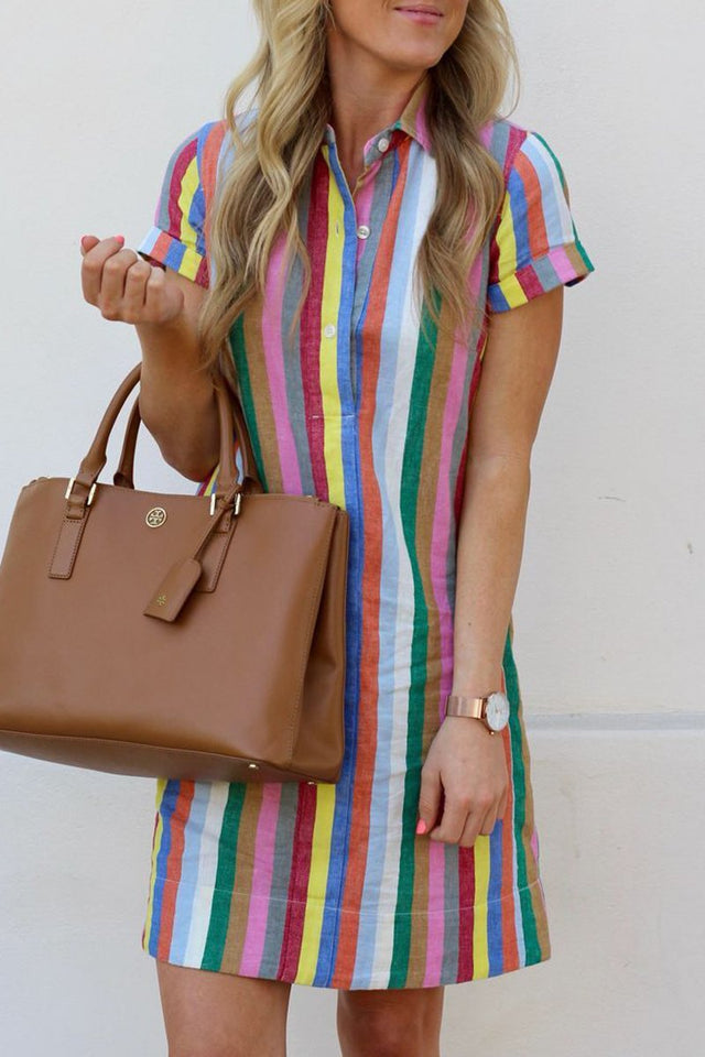 Rainbow Stripe Turndown Collar Mini Dress