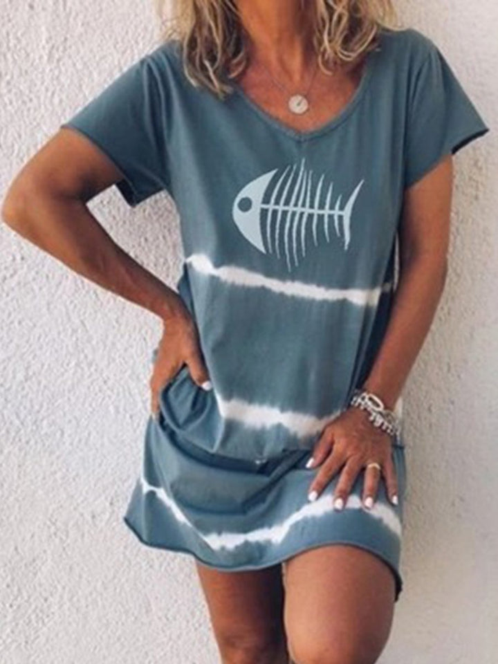 Short Sleeve Fishbone Print T-Shirt Dress
