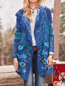Cotton-Blend Floral Long Sleeve Outerwear
