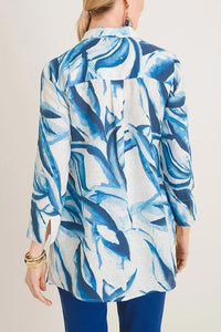 Abstract Print Paneled Pleated Buttoned Slit Vintage Blouse