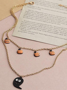 Ladies Pumpkin Ghost Halloween Necklaces