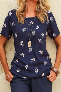 Floral Print Paneled Side Pocket Casual Short Sleeves T-shirt