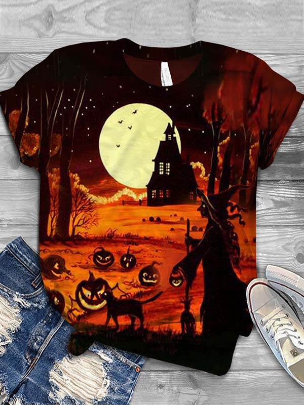 Ladies Halloween Witch Printed T-shirts