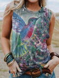 Ladies Round Collar Casual Bird Printed Sleeveless Vest