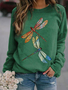 Ladies dragonfly print crew neck sweatshirt