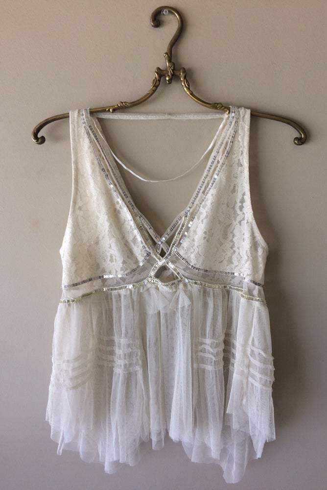 Beaded Summer Beach Gypsy Boho Lace Top -Y