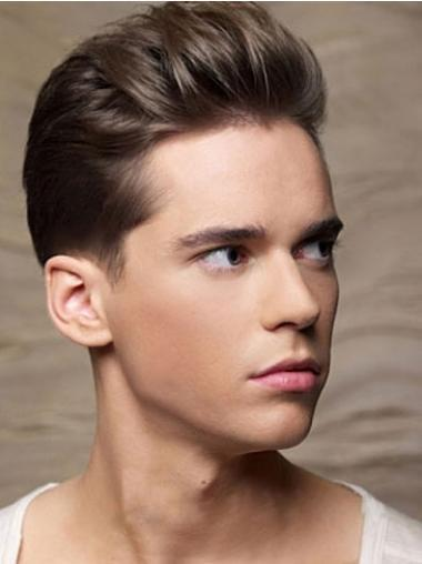 Exquisite Brown Straight Cropped Men Wigs