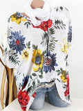 Floral Batwing Short Sleeve Blouse