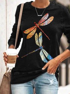 Women's Dragonfly Print Casual Top