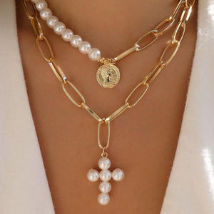 Retro Cross Portrait Pearl Multi-Layered Necklace