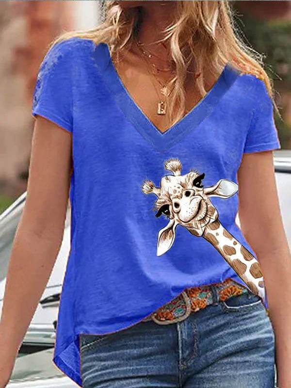 Ladies Fashion V-Neck Multicolor Giraffe Printed Short Sleeve Casual T-shirt