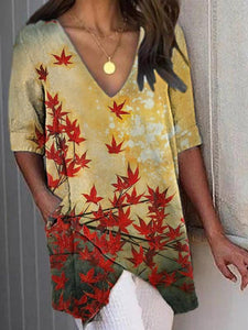 Maple Leaf Print Asymmetrical Half Sleeve V-Neck T-Shirt