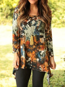 Vintage Elegant Long Abstract Print T-Shirt Top