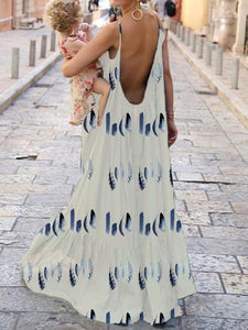 Boho Leather Printed Party Maxi Dress