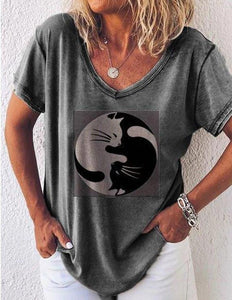 V-neck Short Sleeve Casual Loose T-shirt