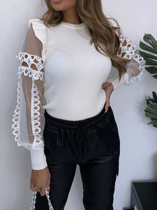 Cutout Mesh Round Neck Slim Top