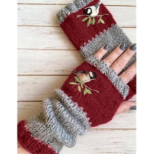 Bird Embroidery Color-block Half-finger Gloves
