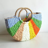 Colorful Straw Beach Bag Vacation Handbag