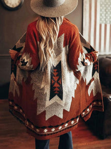 Vintage Tribal Knitted Cardigan Sweater Coat