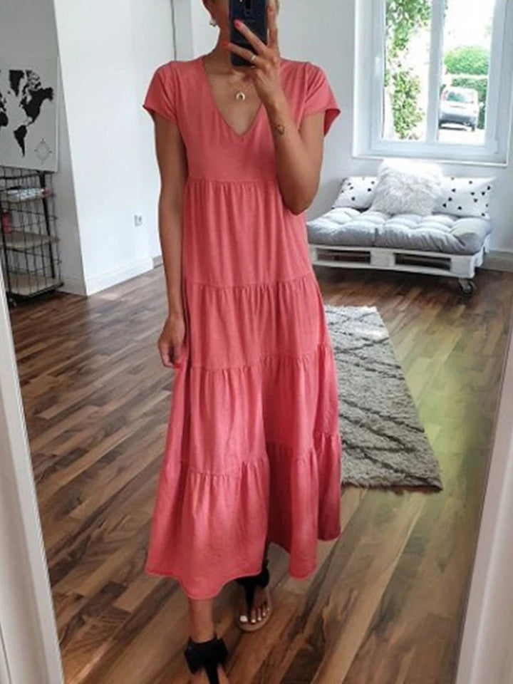 Ruffled Short Sleeve Solid Color Casual Dress