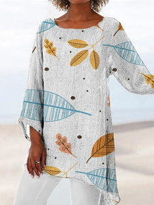 Leaf Print Asymmetrical Hem Tunic Shirt