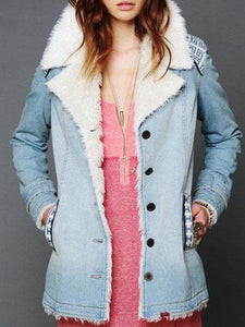 Denim Wool Long Sleeve Warm Outerwear