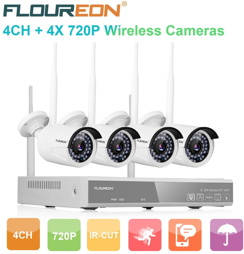4CH HD 1080P Wireless NVR Kits with 4 Pcs 720P 1.0MP Cameras Surveillance Kits (No Hard Drive)