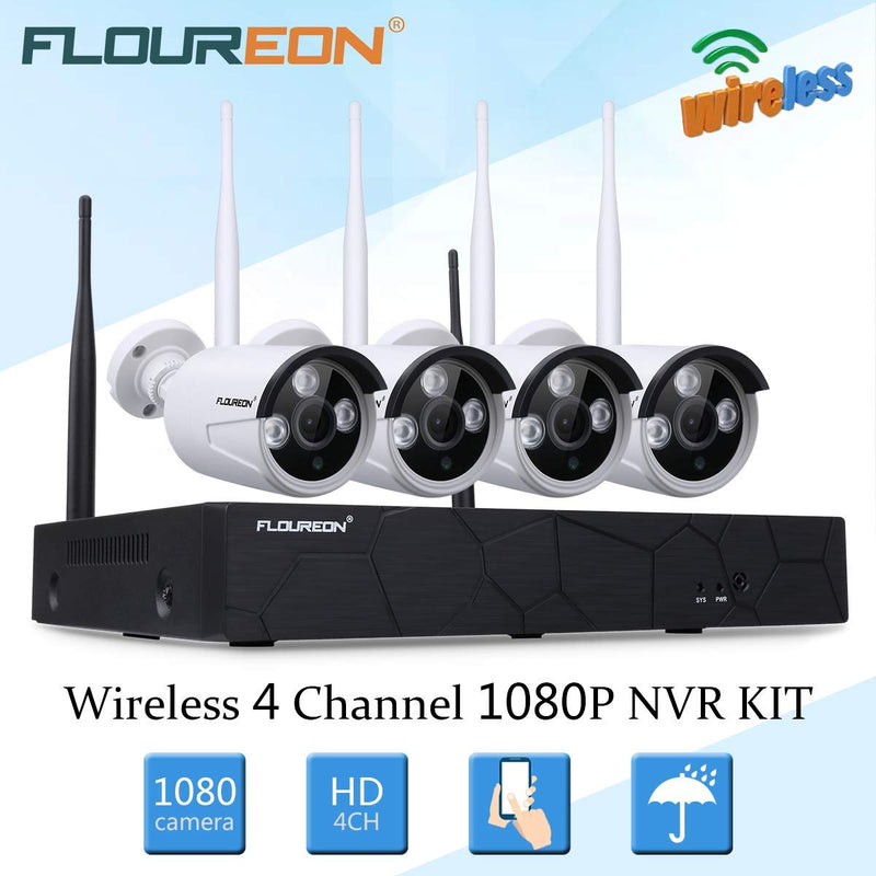 4CH HD 1080P Wireless NVR with 4Pcs HD 1080P Cameras Surveillance Kits(No Hard Drive)