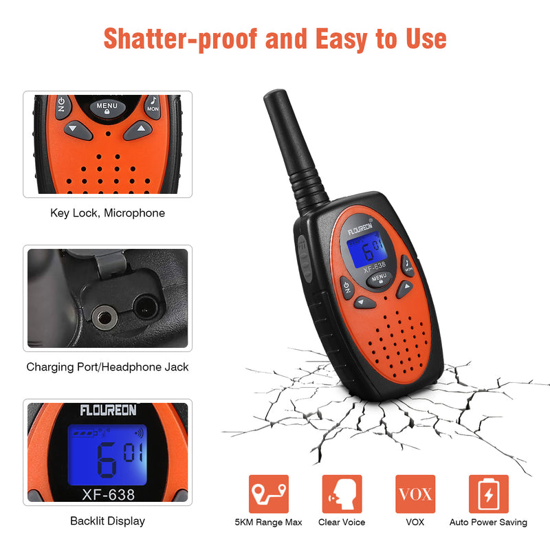22 Channel Walkie Talkies Two Way Radios 3000M -4 Pcs Orange US