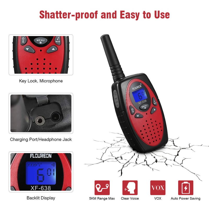 22 Channel Walkie Talkies Two Way Radios 3000M -4 Pcs Red US