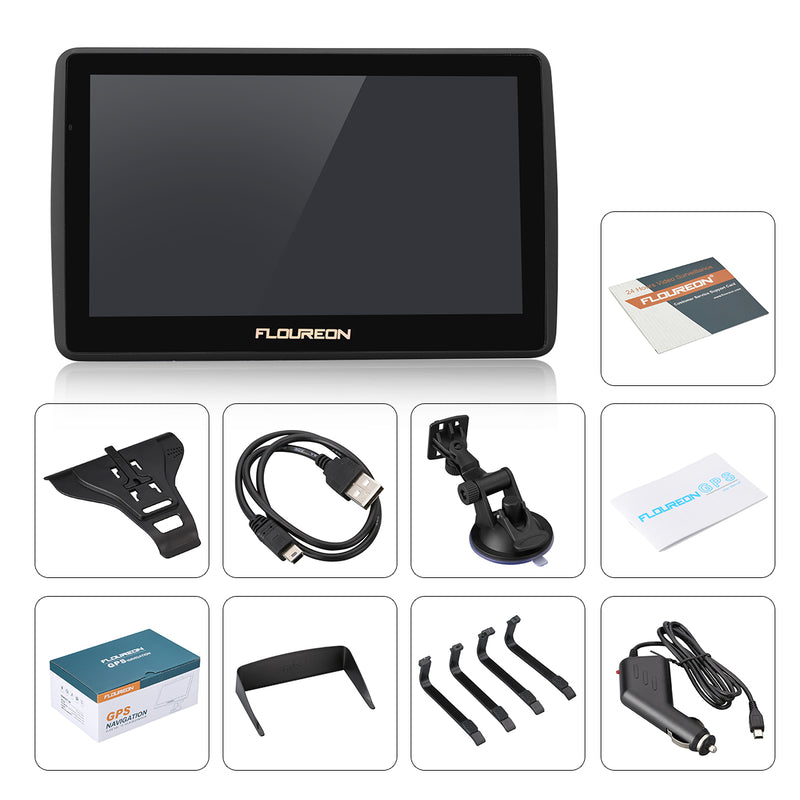 7 Inch LCD Touch Screen GPS Navigation Navigator Lifetime Map Updates 8GB