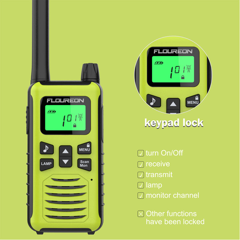 22 Channel Walkie Talkies, Adults Kids Two-Way Radio -2Pcs Green US