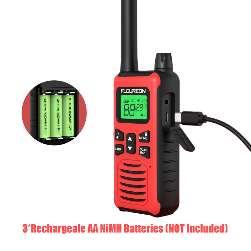 22 Channel Walkie Talkies, Adults Kids Two-Way Radio -2Pcs Red US