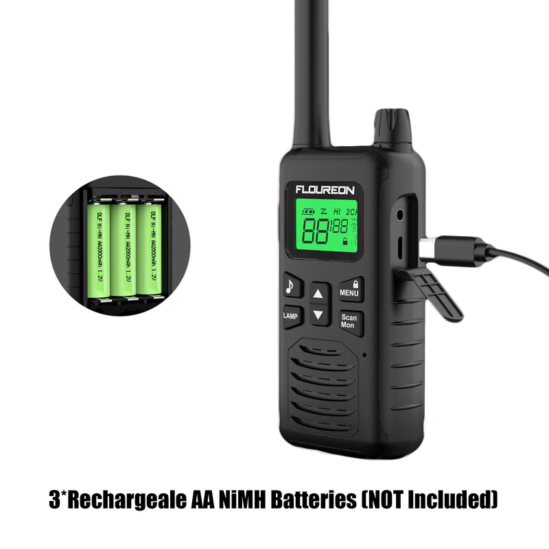 22 Channel Walkie Talkies, Adults Kids Two-Way Radio -4Pcs Black US