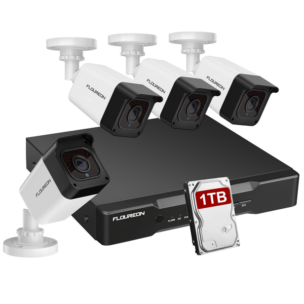 8CH True 1080P XPOE Surveillance Kits with 4x HD 1080P XPOE Cameras Human Detection Intelligent Analysis 1TB HDD