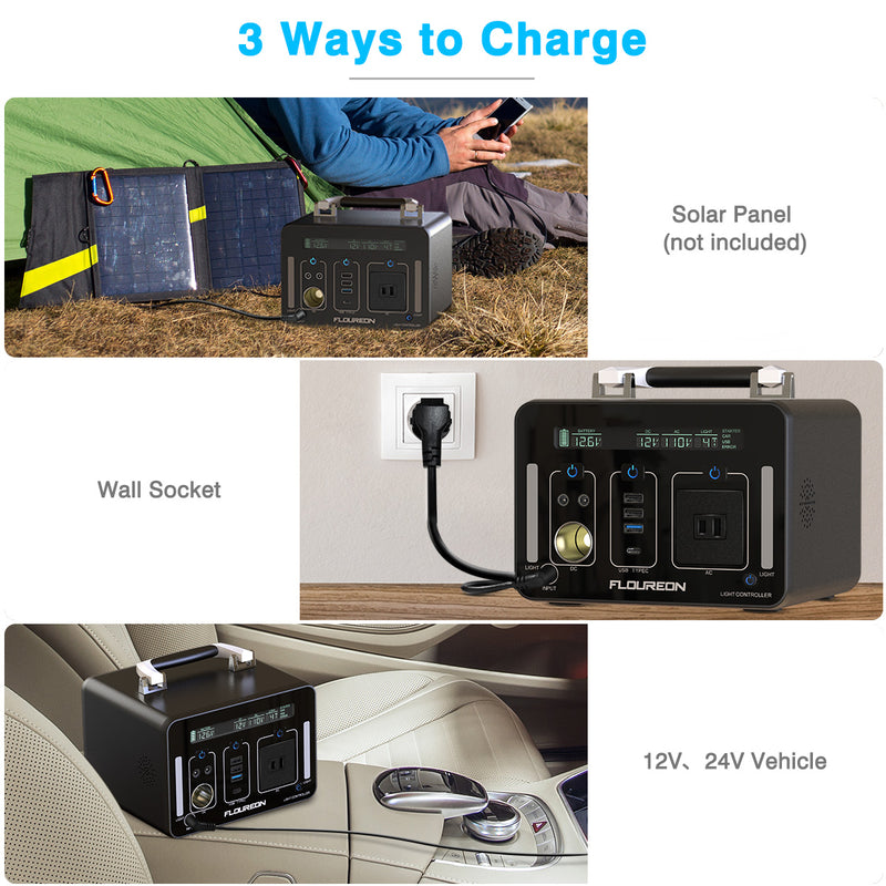 500Wh Power Generator Portable Li On Charger with AC DC USB Input PD Quick Charge for Home and Outdoors