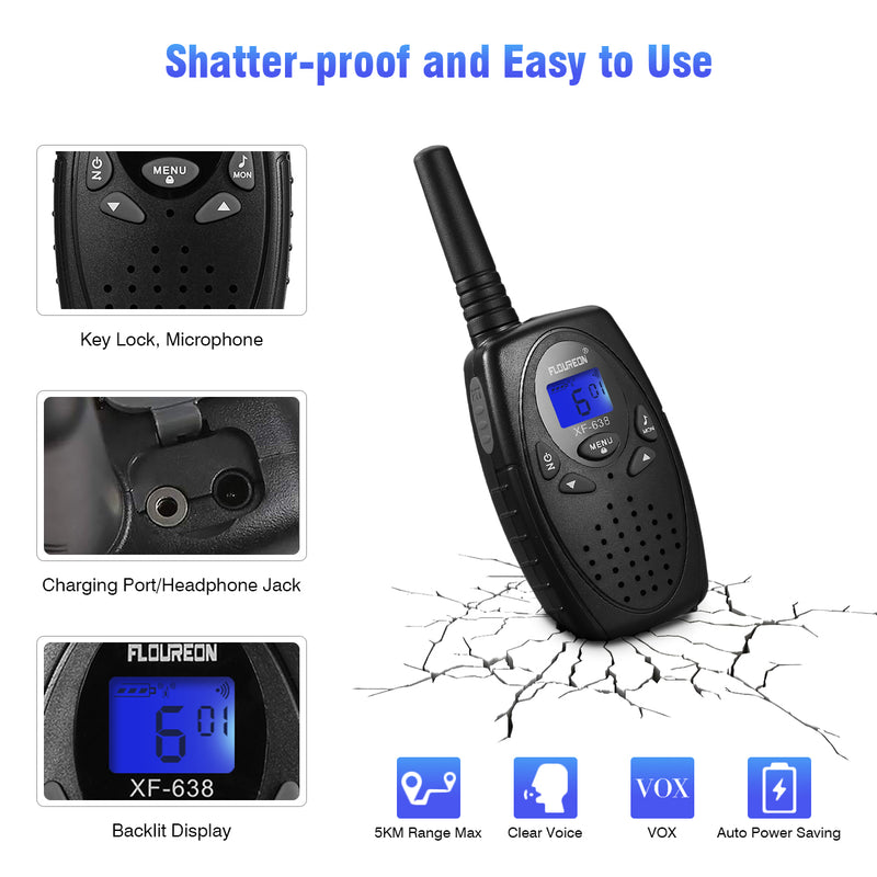 22 Channel Walkie Talkies Two Way Radios 3000M - 4 Pcs Black US