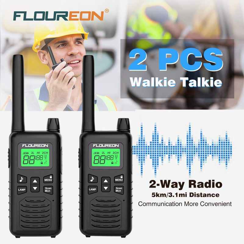16 Channel Walkie Talkies, Adults Kids Two-Way Radio -2Pcs Black EU