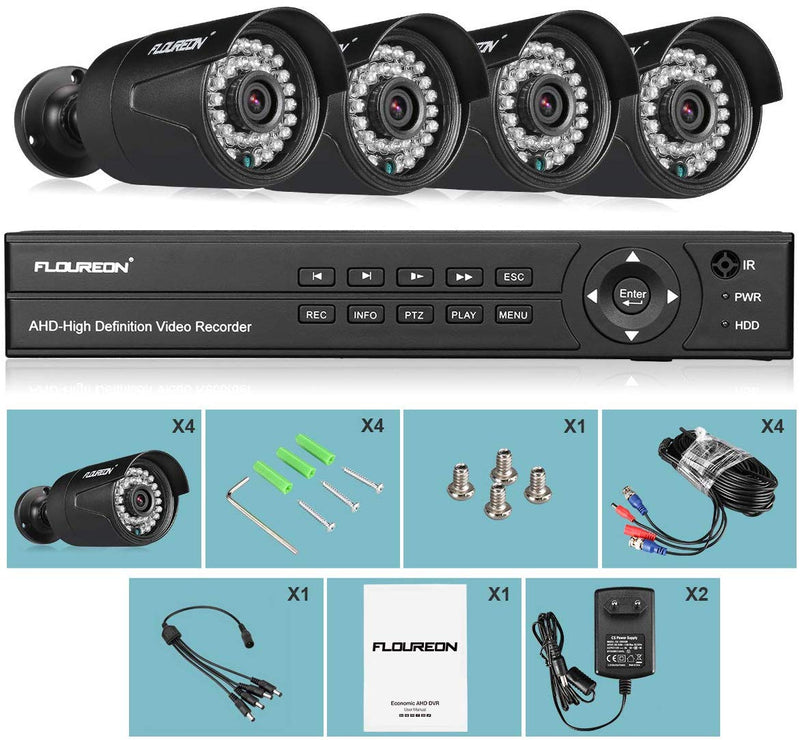8CH 5-IN-1 1080N AHD Video DVR Recorder with 4 pcs 3000TVL HD 1080P Cameras(No Hard Drive)