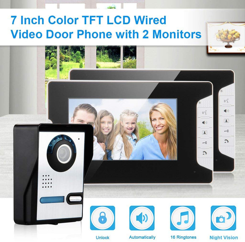 "Intercom Doorbell Phone Kit with 2*7 ""LCD Color Monitors"