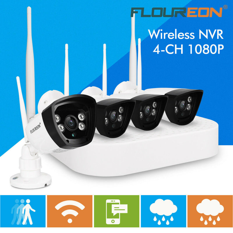4CH Wireless 1080P DVR Wifi WLAN Outdoor NVR Security Camera System Night Vision(No Hard Drive)