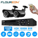 4CH 1080N DVR Recorder with 2 Pcs 1500TVL Outdoor Security Camera System Kits(No Hard Drive)