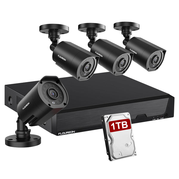 8CH 5 IN 1 1080N Video DVR Recorder Kits 4X HD 1080P Invisible IR Cameras 1TB HDD