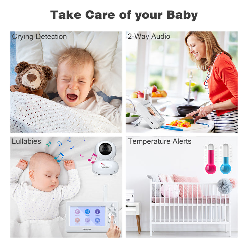 "HD 720P Pan/Tilt Camera 5"" LCD Screen Monitor Baby Monitor"