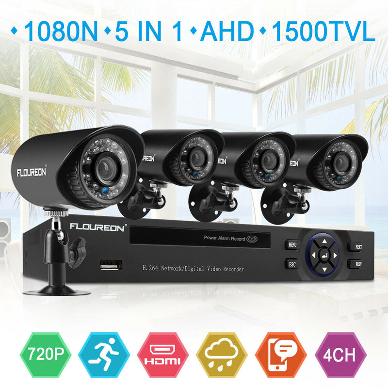 4CH 1080N DVR with 4 Pcs 1500TVL 720P Cameras(No Hard Drive)