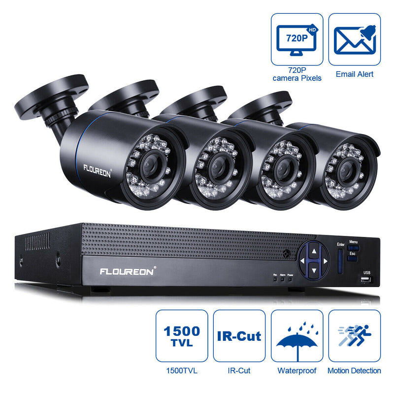 8CH 1080N HDMI DVR with 4PCS 1500TVL AHD Cameras Security System Kit(No Hard Drive)
